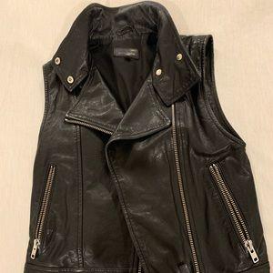 Genuine leather moto vest